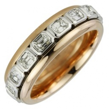 Memoiere Ring Rotgold Weißgold Diamanten Emerald Cut 1,82ct