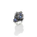 giovanni raspini moon flower big ring silberring mit blauen steinen